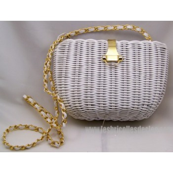 White straw effect Shoulder Bag with gold trim