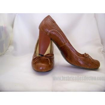 Chaussures Tan Femme Escarpins Dame Talon Moyen