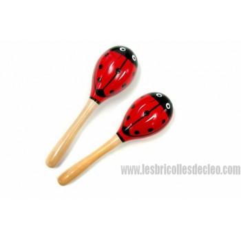 Wooden Ladybug Maracas Red Black