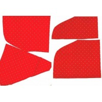 Crazy Quilt Fabric Scraps Red White Polka Dot